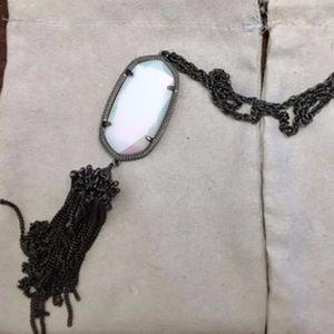 Rayne white Iridescent gunmetal custom necklace